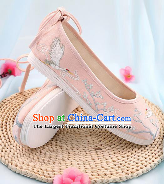 Traditional Chinese Embroidered Crane Pine Pink Shoes Handmade Cloth Shoes National Cloth Shoes for Women