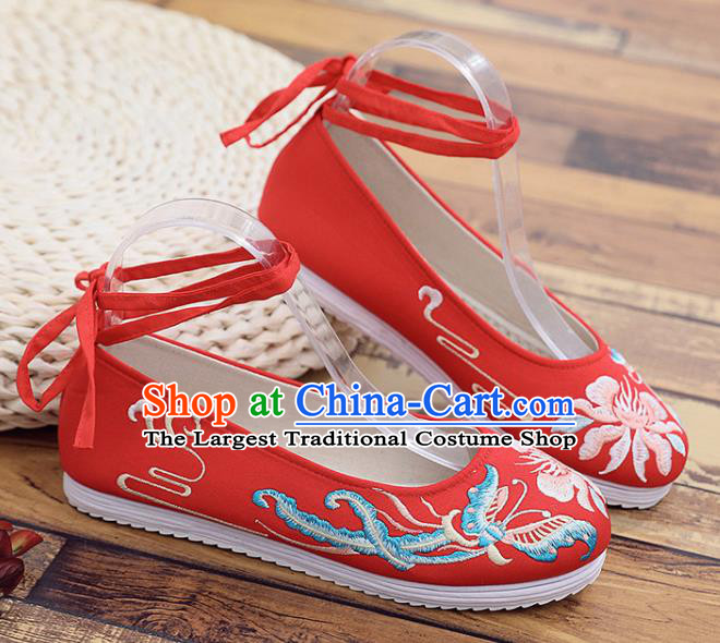 Traditional Chinese Embroidered Peony Butterfly Red Shoes Handmade Cloth Shoes National Cloth Shoes for Women