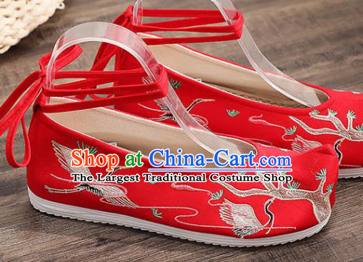 Traditional Chinese Embroidered Crane Red Shoes Handmade Cloth Shoes National Cloth Shoes for Women