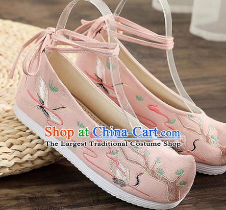 Traditional Chinese Embroidered Crane Pink Shoes Handmade Cloth Shoes National Cloth Shoes for Women