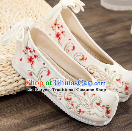 Traditional Chinese Embroidered Deer White Shoes Handmade Cloth Shoes National Cloth Shoes for Women