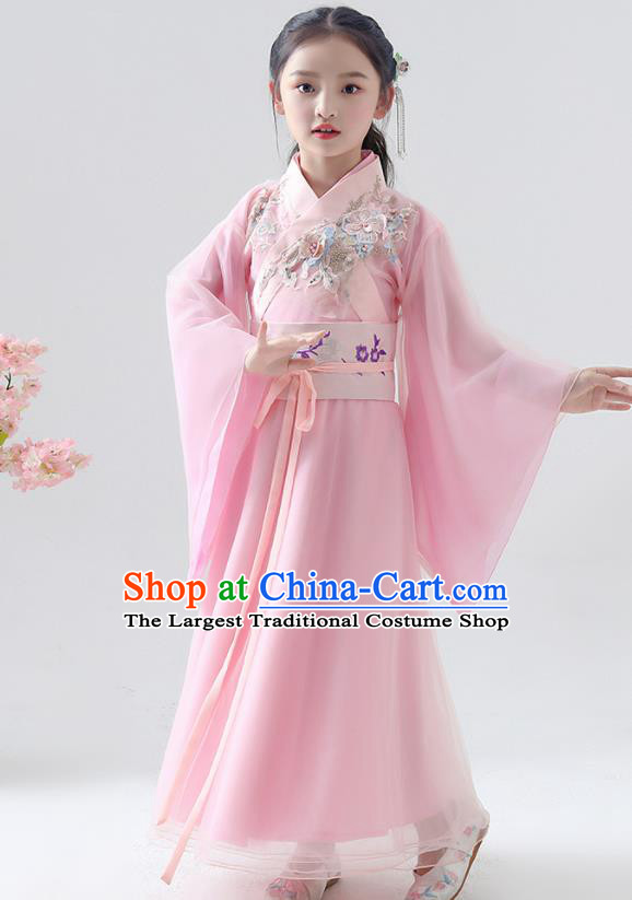 Chinese Traditional Jin Dynasty Girls Pink Hanfu Dress Ancient Peri Princess Costume for Kids