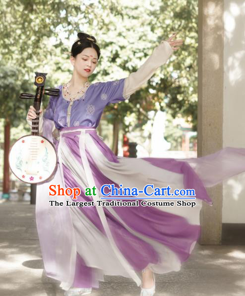 Traditional Chinese Tang Dynasty Palace Maidservant Replica Costumes Ancient Court Dancer Purple Hanfu Dress for Women