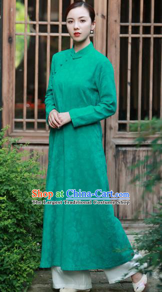Chinese Traditional Martial Arts Green Qipao Dress Tang Suit Kung Fu Tai Chi Costume for Women