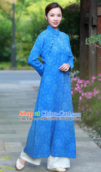 Chinese Traditional Martial Arts Blue Qipao Dress Tang Suit Kung Fu Tai Chi Costume for Women