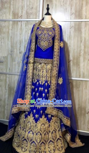 Embroidered Royalblue Wedding Dress