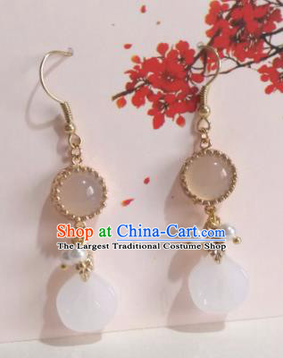 Traditional Chinese Classical Chalcedony Earrings Hanfu Jewelry Accessories for Women