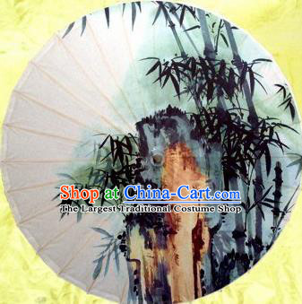 Chinese Handmade Printing Bamboo Stone Oil Paper Umbrella Traditional Decoration Umbrellas