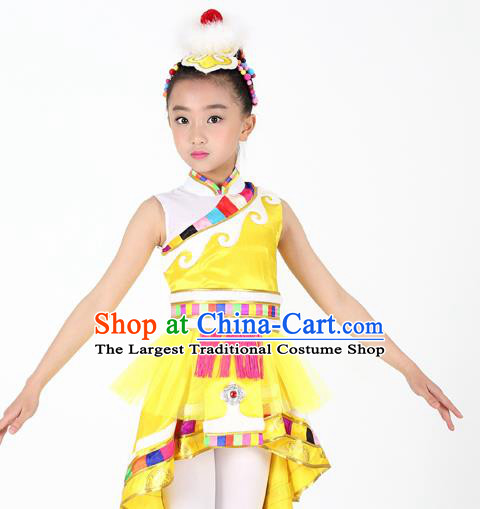 Traditional Chinese Child Zang Nationality Yellow Veil Short Dress Ethnic Minority Folk Dance Costume for Kids