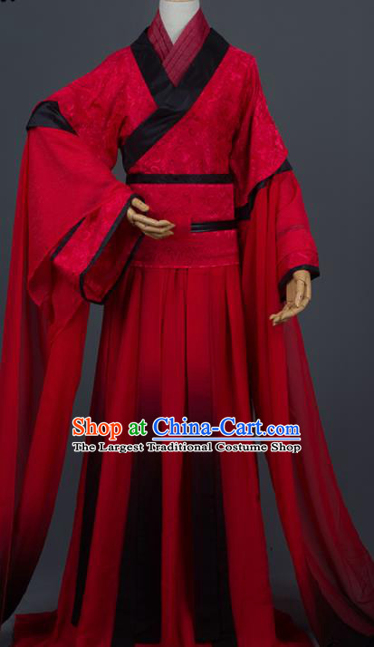 Traditional Chinese Cosplay Crown Prince Wedding Red Costumes Ancient Swordsman Hanfu Clothing for Men