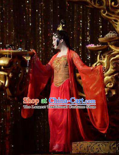 Chinese Zhaojun Chu Sai Ancient Court Princess Classical Dance Red Dress Stage Performance Costume and Headpiece for Women