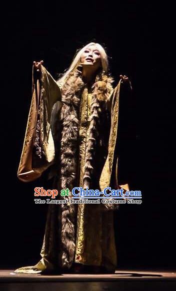 Chinese Zhaojun Chu Sai Ancient Han Dynasty Classical Dance Dress Stage Performance Costume and Headpiece for Women