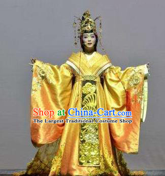 Chinese Zhaojun Chu Sai Ancient Court Queen Golden Dress Stage Performance Dance Costume and Headpiece for Women