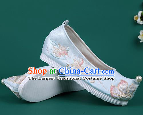 Chinese Pearl Shoes Traditional Wedding Blue Embroidered Shoes Hanfu Shoes Princess Shoes for Women