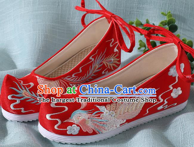 Chinese Handmade Embroidered Bird Red Shoes Traditional Wedding Shoes Hanfu Shoes Princess Shoes for Women
