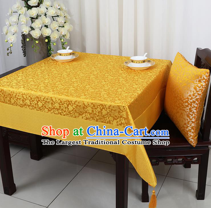 b32216a79 Chinese Traditional Peony Pattern Golden Brocade Table Cloth Classical  Satin Household Ornament Desk Cover