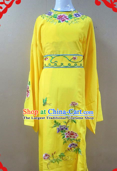Professional Chinese Beijing Opera Niche Yellow Embroidered Peony Robe Traditional Peking Opera Scholar Costume for Adults