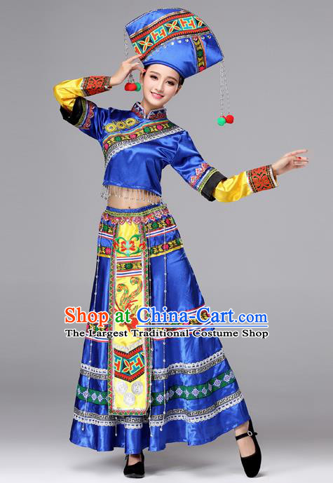 Chinese Traditional Zhuang Nationality Female Wedding Costume Ethnic Folk Dance Bride Blue Pleated Skirt for Women
