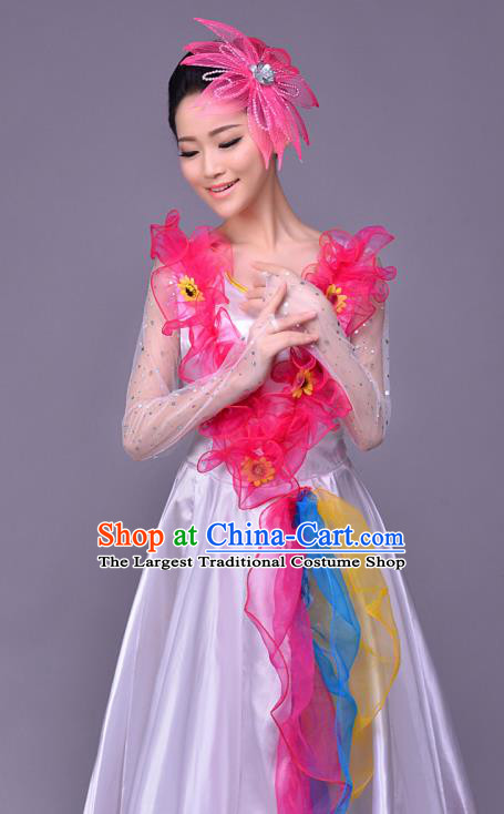 239529fb21e4 Top Grade Opening Dance Modern Dance Costume Classical Chorus Group White  Dress for Women