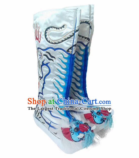 Asian Chinese Beijing Opera Shoes Embroidered Tiger Boots Traditional Peking Opera Takefu White Boots