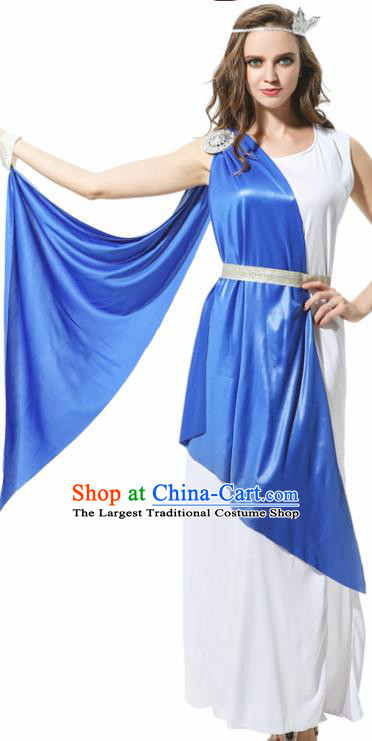 Traditional Greece Costume Ancient Greek Goddess Garment Garden of Eden Athena Blue Dress for Women