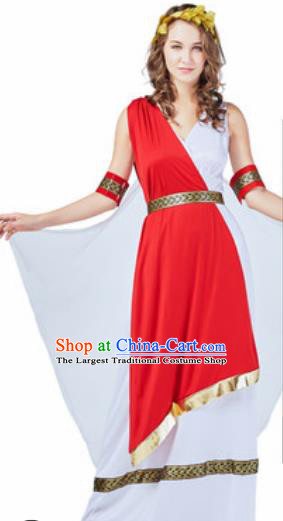 Traditional Greek Costume Ancient Greece Female Warrior Red Dress for Women