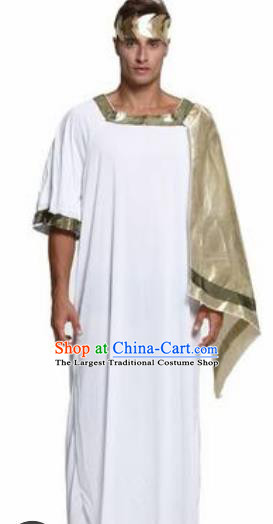 Traditional Greece Prince Costume Ancient Greek Warrior Golden Clothing for Men