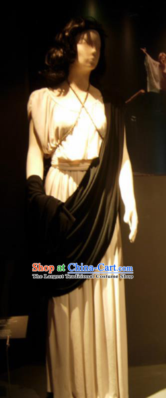Traditional Greek Stage Performance Costume Ancient Greek Goddess Peplos White Dress for Women