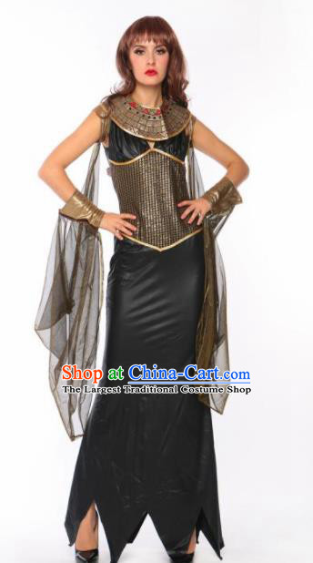 Traditional Greek Peplos Stage Performance Costume Ancient Greek Goddess Black Dress for Women