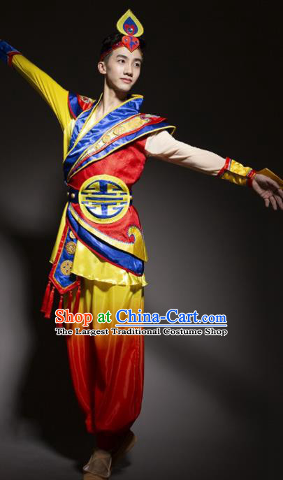 Chinese Traditional National Minority Dance Costume Ethnic Folk Dance Costume for Men