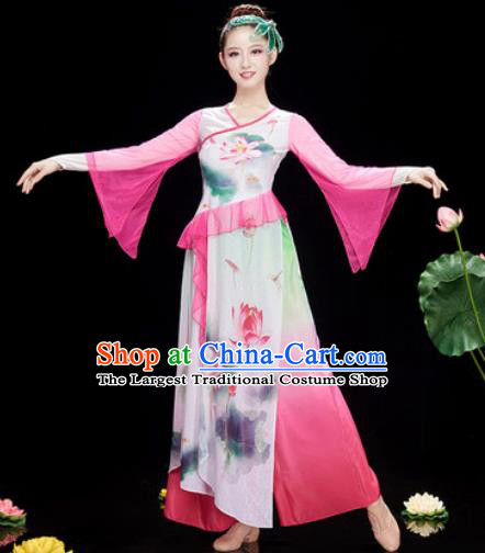 c77800c37 Chinese Traditional Umbrella Dance Printing Lotus Pink Dress Classical  Dance Stage Performance Costume for Women