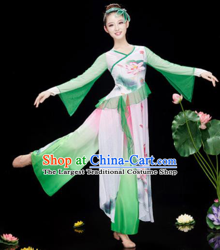 Chinese Traditional Umbrella Dance Printing Lotus Green Dress Classical Dance Stage Performance Costume for Women