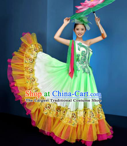 Chinese Traditional Opening Dance Chorus Green Dress Modern Dance Stage Performance Costume for Women