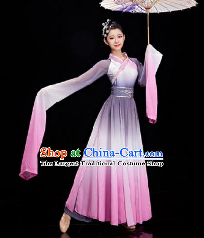 Chinese Traditional Umbrella Dance Water Sleeve Dress Classical Dance Stage Performance Costume for Women