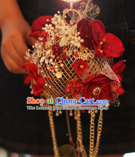 Top Grade Wedding Bridal Bouquet Hand Blue Flowers Beads Bunch For