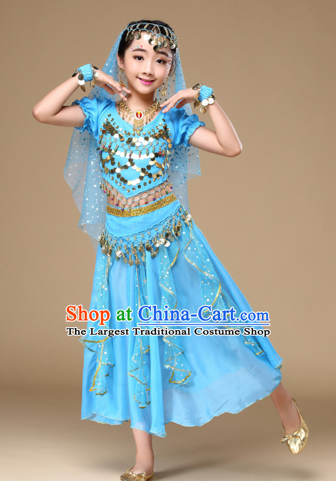 Light Blue Indian Traditional Belly Dancing Costumes Asian India Oriental Dance Costume Complete Set for Kids