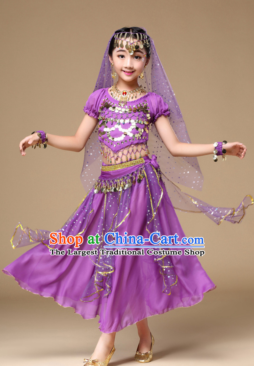 Purple Color Indian Traditional Belly Dancing Costumes Asian India Oriental Dance Costume Complete Set for Kids