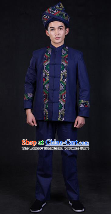 Chinese Traditional Zhuang Nationality Navy Blue Clothing Ethnic Festival Folk Dance Costume for Men