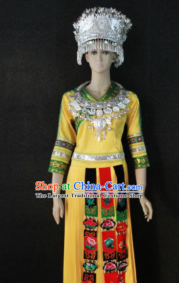 Chinese Traditional Miao Nationality Yellow Dress Ethnic Bride Folk Dance Costume for Women