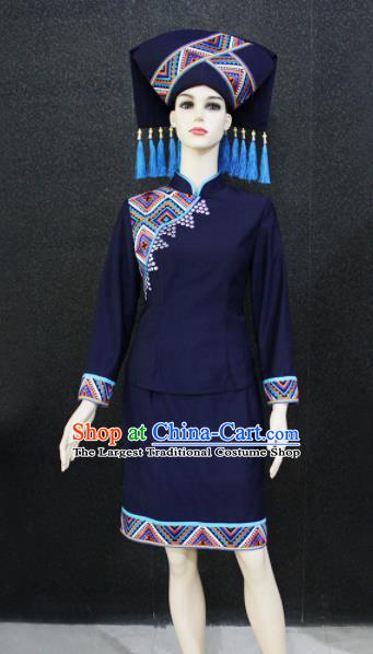 Chinese Traditional Zhuang Nationality Female Navy Clothing Ethnic Folk Dance Costume for Women