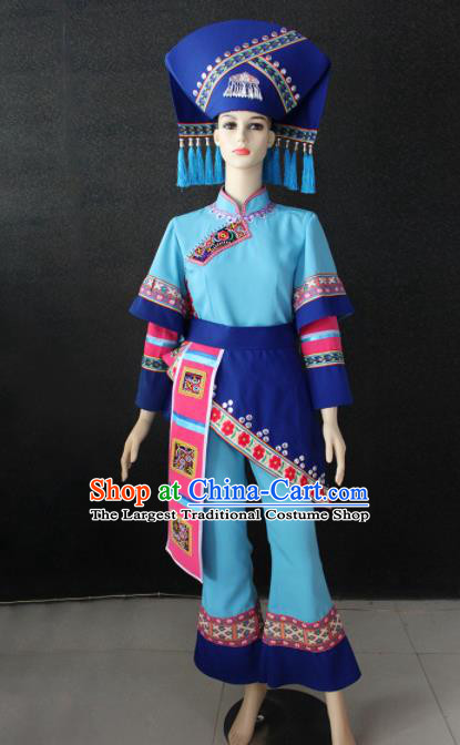 Chinese Traditional Zhuang Nationality Light Blue Clothing Ethnic Folk Dance Costume for Women