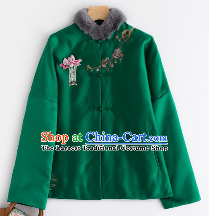 Chinese Traditional Tang Suit Green Cotton Wadded Jacket National Costume Upper Outer Garment for Women