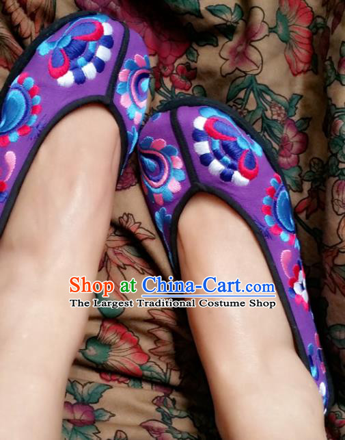 Chinese National Purple Shoes Traditional Cloth Shoes Hanfu Shoes Embroidered Shoes for Women
