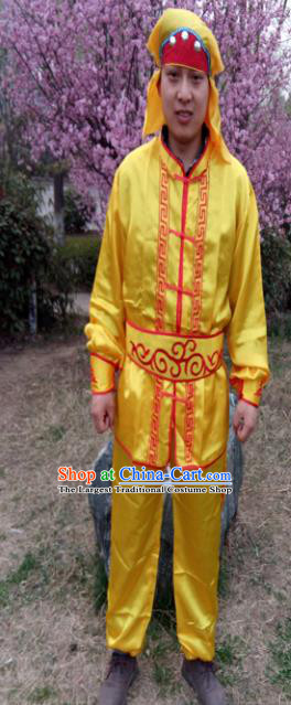 Chinese Traditional Folk Dance Costume Lion Dance Yellow Clothing for Men