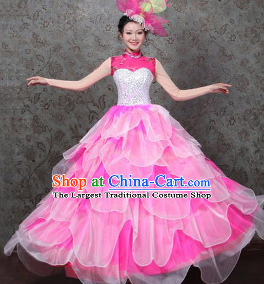 Chinese Traditional Spring Festival Gala Dance Costume Opening Dance Stage Performance Pink Dress for Women