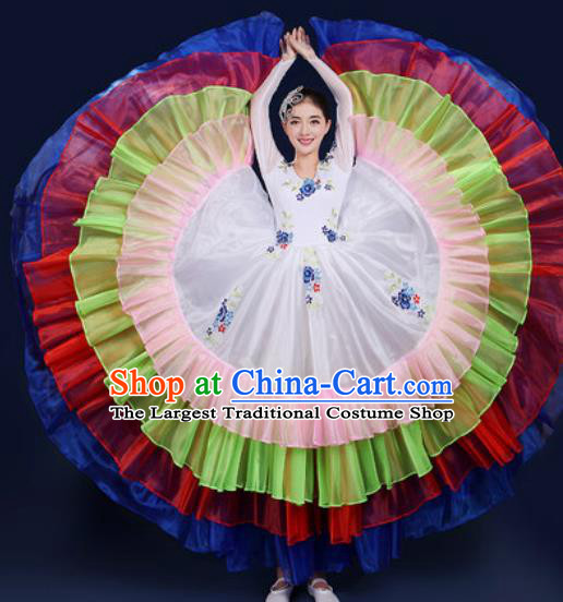 Chinese Traditional Peony Dance Stage Performance White Dress Spring Festival Gala Dance Costume for Women