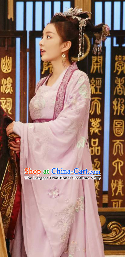 Chinese Drama Queen Dugu Sui Dynasty Princess Consort Hanfu Dress Ancient Historical Costume and Headpiece for Women