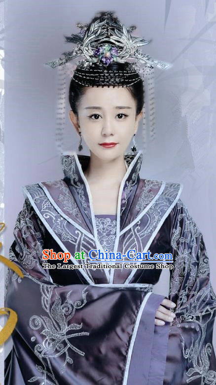 Chinese Drama Queen Dugu Northern Zhou Dynasty Empress Hanfu Dress Ancient Historical Costume and Headpiece for Women