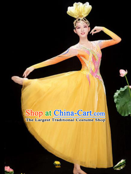 Chinese Traditional Spring Festival Gala Costume National Classical Dance Yellow Veil Dress for Women
