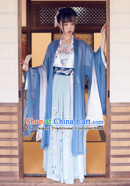 Chinese Traditional Tang Dynasty Nobility Lady Hanfu Dress Ancient Court Princess Embroidered Costume for Women